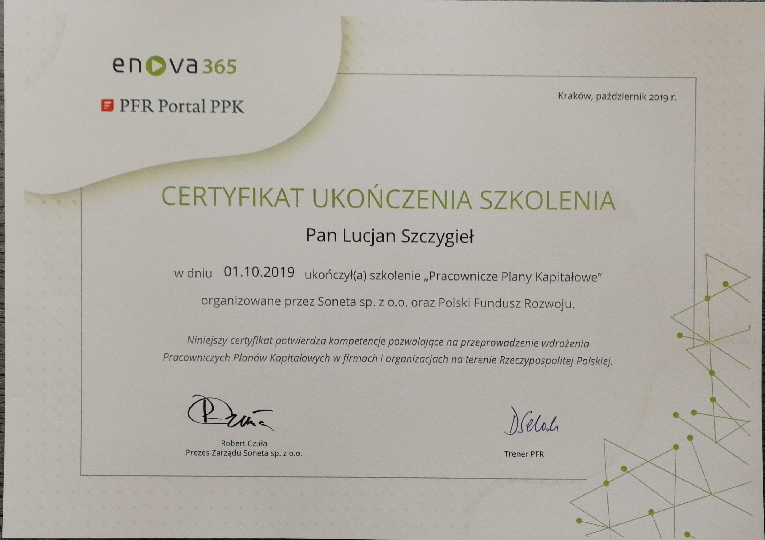 certyfikat Pracownicze Plany Kapitałowe